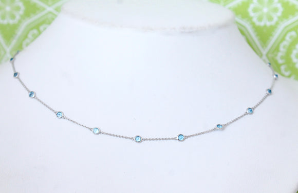 Bright & Fun ~ Blue Topaz in White Gold Necklace, adjustable lengths
