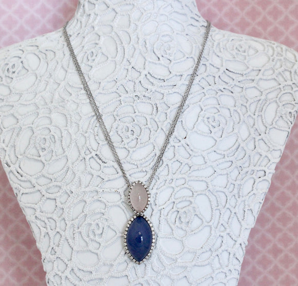 Captivating ~ Chalcedony & Rose Quartz Pendant on Chain