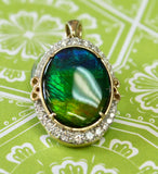 AMAZING ~ Ammolite & Diamond Pendant