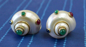 Unique ~ Shell shaped earring with Emerald, Ruby & Sapphire