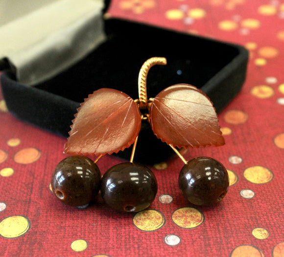 Unique & Fun ~ Cherry and Leaf Pin