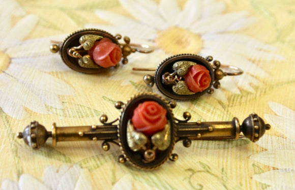 Victorian ~ Coral Earrings & Pin Set