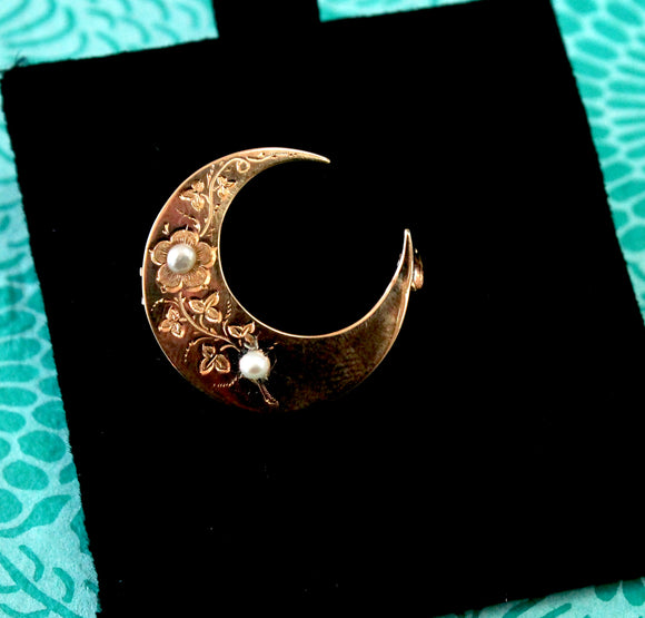 Whimsical ~ Crescent Moon Shaped Pin with Pearls