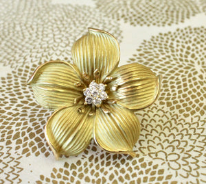 Floral Pin / Pendant with Cluster of Diamonds