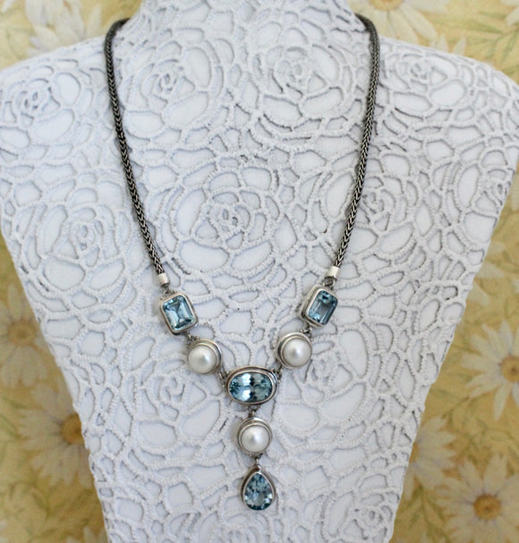 Blue Topaz Sterling Silver Necklace ~ Colorful & Fun