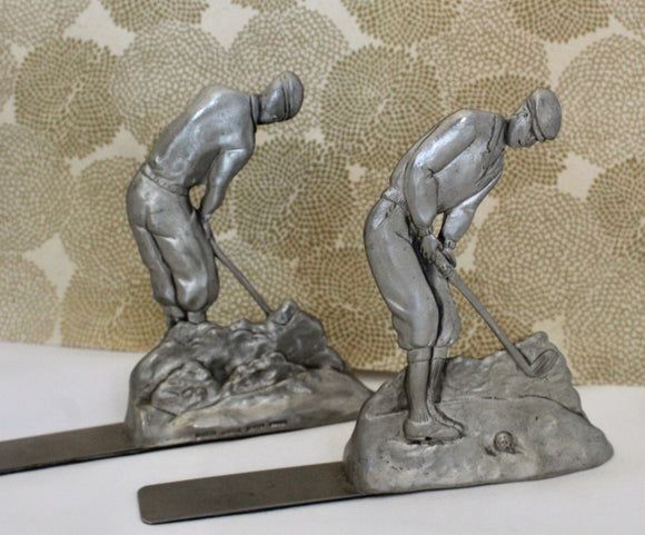 Decorative ~ Golf Book Ends ~ Pewter