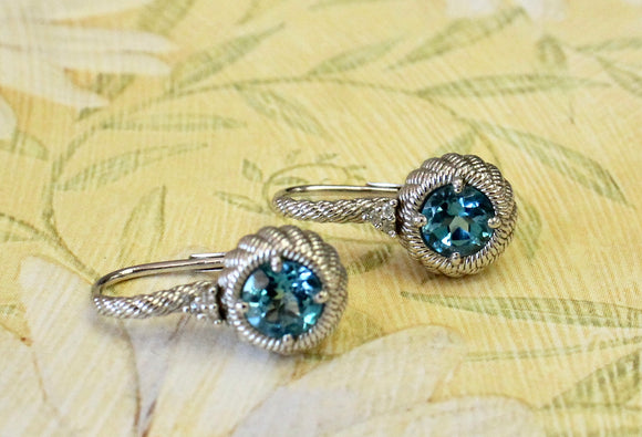 Judith Ripka  Sterling Blue Topaz Earrings