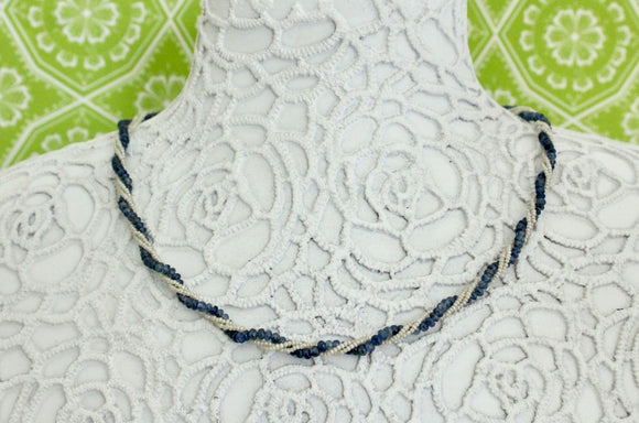 Seed Pearls and Sapphire Beads Necklace