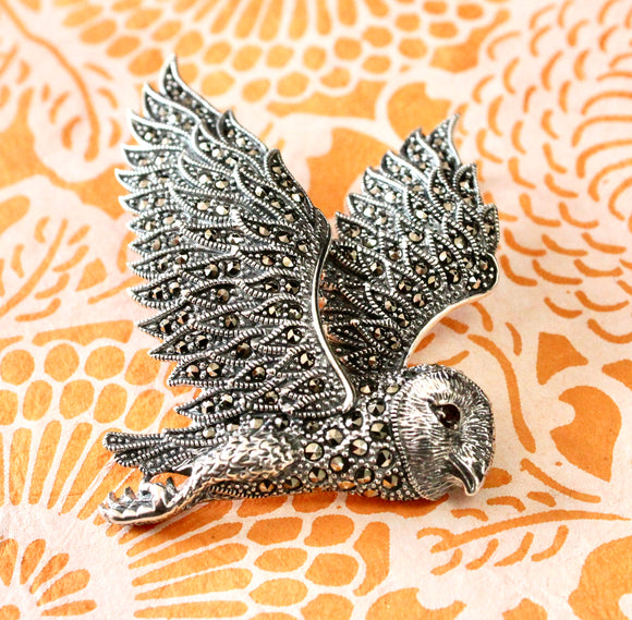 Decorative ~ Sterling & Marcasite Owl Pin ~