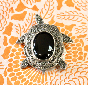 Sterling, Onyx & Marcasite Turtle Pin
