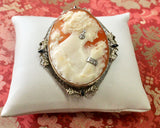 Shell Cameo Pin with Diamond accents