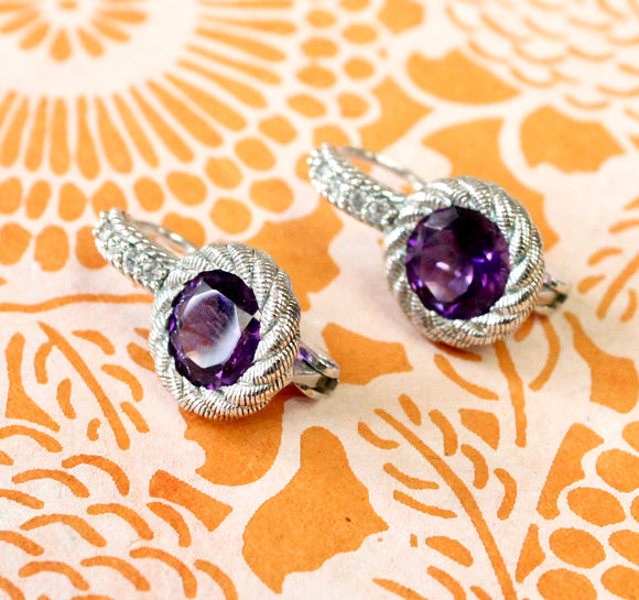 Sterling & Amethyst Earrings ~ Designer