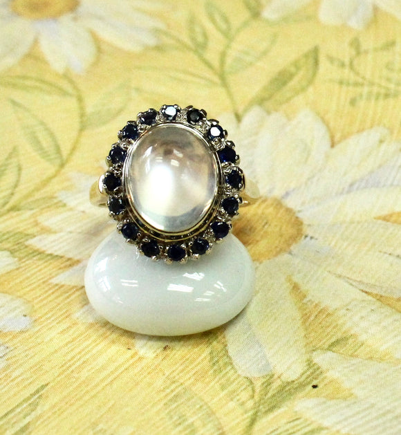Exciting ~ Moonstone stone ring with sapphire accents
