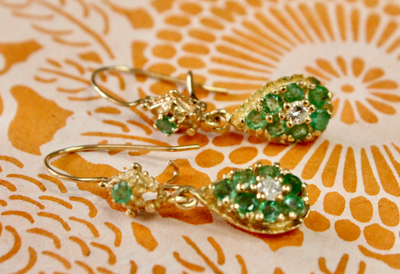 Sparkling ~ Emerald & Diamond Earrings