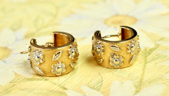 Two-tone Gold Huggie Earrings