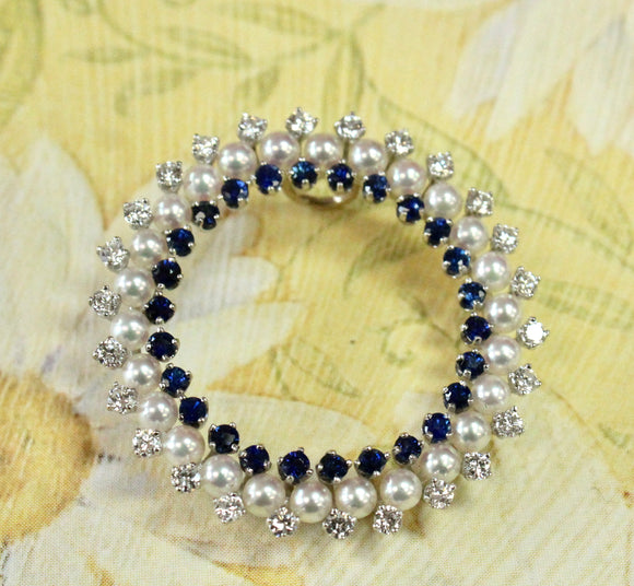 Elegant ~ Sapphire Pin Encircled by Pearls and Diamonds with Open Center