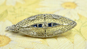 Vintage Sapphire and Diamond Pendant/Pin