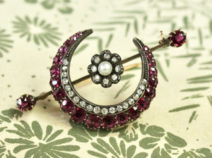 ANTIQUE ~  Ruby and Mine Cut Diamond Crescent Pin