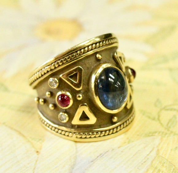 Wide Cabochon Sapphire Ring