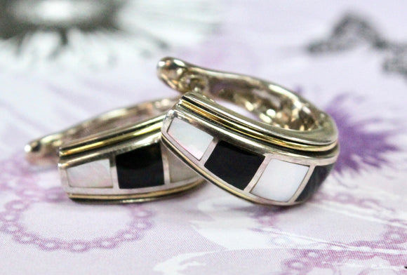 Funky ~ Sterling Onyx Hoop Earrings