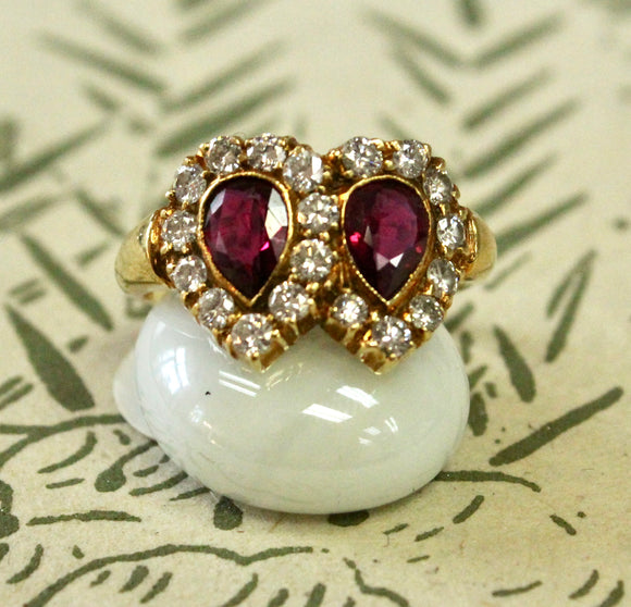 ROMANTIC ~ Double Pear Shaped Ruby Ring, 18K