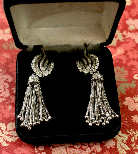 SPECTACULAR ~ Night and Day Diamond Earrings, Circa 1940's