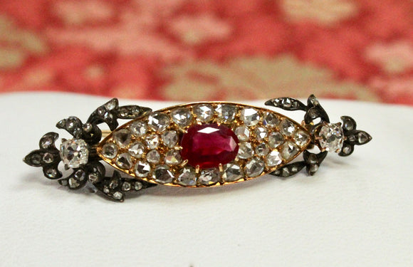 Impressive ~ ANTIQUE Fine Ruby Pin with diamonds