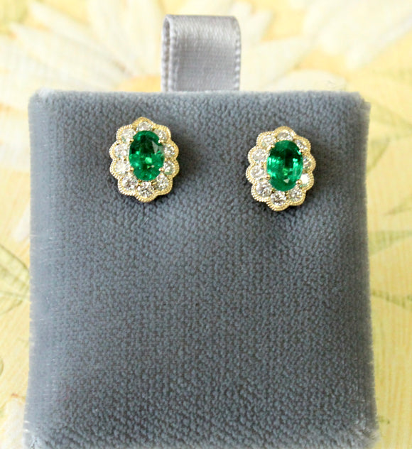 Pretty ~ Emerald & Diamond Stud Earrings