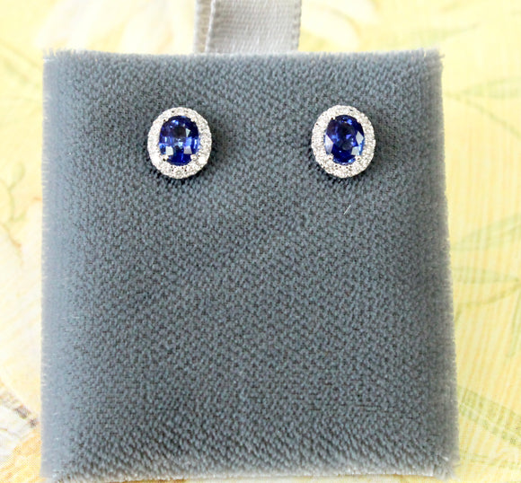 Charming ~ Sapphire & Diamond Stud Earrings
