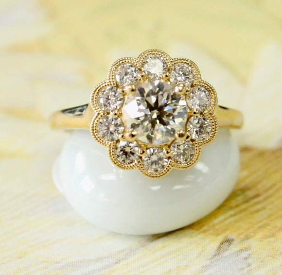 STUNNING ~ Diamond Ring with gold edging