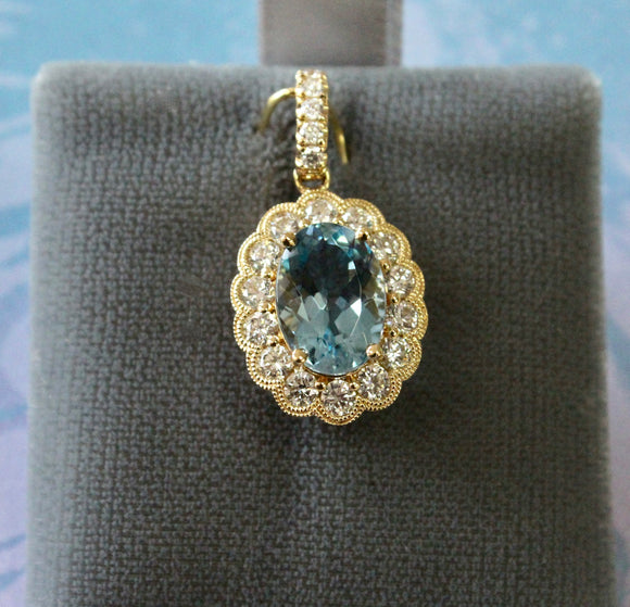 Glamorous ~ Aquamarine Pendant with Diamonds