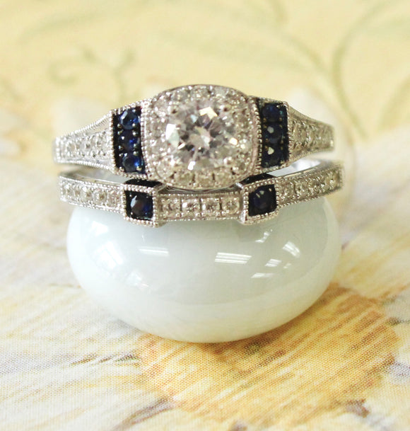 Sparkling ~ Engagement Ring Set, Diamond Ring with Sapphire accents and matching band