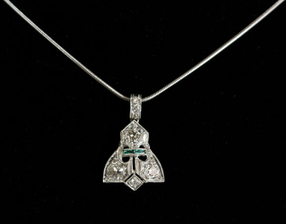 Vintage ~ Art Deco Chain and Diamond Pendant