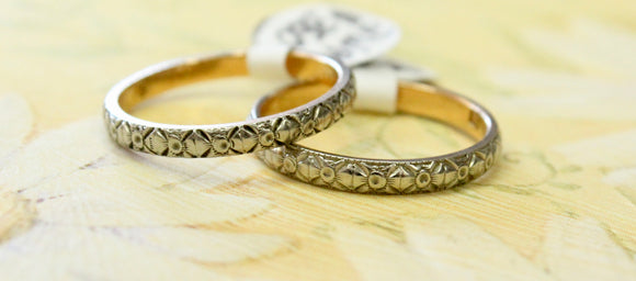 ANTIQUE ~ Two - Tone Eternity Band,  2 Available