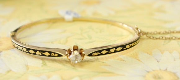 Antique ~ Elegant Enamel & Diamond bracelet