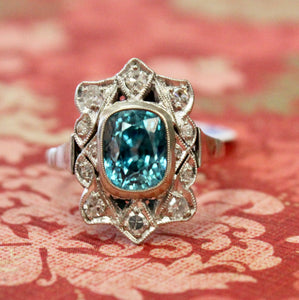 Extra Pretty ~ Vintage Blue Zircon & Diamond Ring