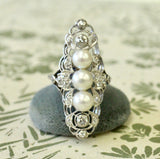 Exciting ~ Diamond & Pearl Elongated Finger Ring