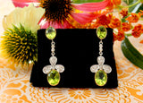 Double Bezel Set Peridot Drop Earrings with Diamonds ~ Dazzling