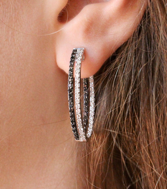 Oval Black and White Diamond In/Out Hoop Earrings ~ Fabulous
