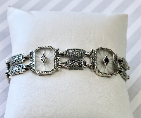 Detailed ~ Sterling Crystal & Diamond Bracelet