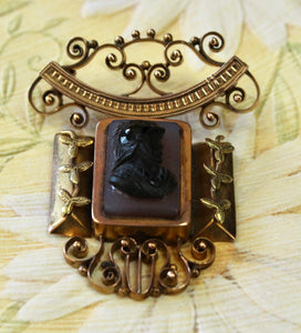 Antique ~ Victorian Stone Cameo Pin