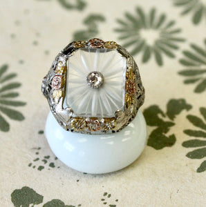 Delightful ~ Crystal and Diamond Ring, Circa 1910