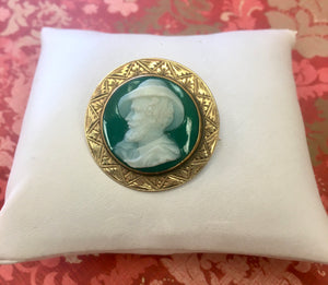 Antique Green Onyx Pin