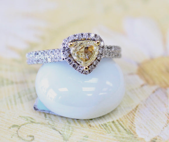 Charming ~ Trillion Shaped Yellow Diamond Ring