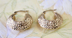 Shimmering ~ Gold textured Hoops