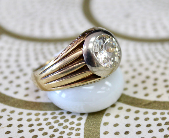HANDSOME ~ Men's Vintage Diamond Center Ring