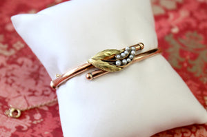 ANTIQUE ~ Rose & Green Gold Victorian Bangle Bracelet