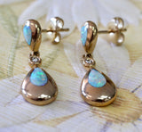 Pretty ~ Opal & Diamond Teardrop Earrings