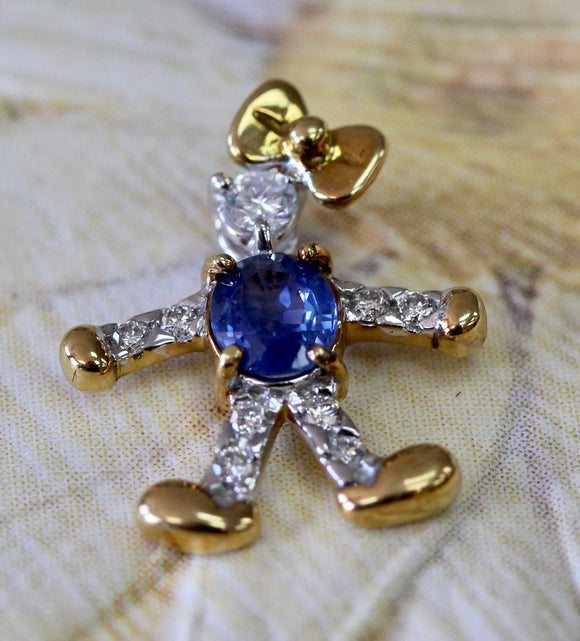 ADORABLE ~  Sapphire & Diamond Little Girl Pendant / Charm