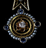Antique ~  Diamond, Sapphire & Seed Pearl Lavalier and Chain
